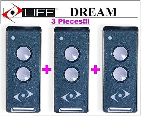 3 X LIFE DREAM 3-kanal handsender. 433,92Mhz Rolling code!!! Die neue Version von Life FIDO, Life VIP, Life STAR und Life BRAVO