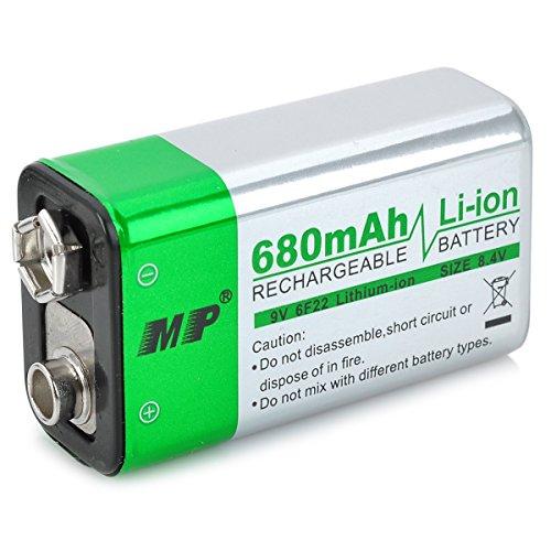MP wiederaufladbare 680mAh 9V 6F22 Li-Ionen-Akku für Mikrofon/Fernbedienung -