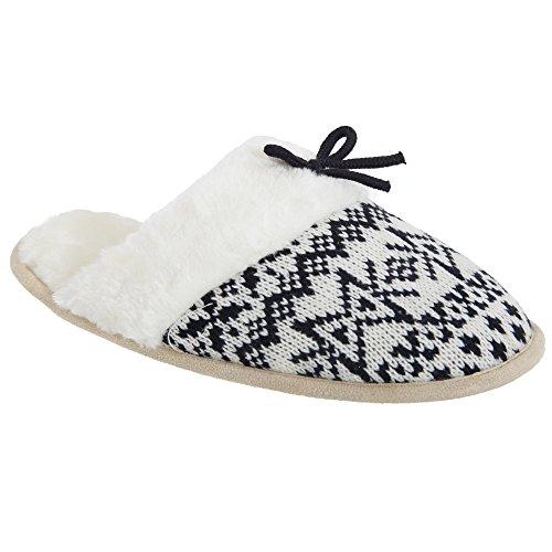 Pantofole a maglia con rivestimento morbido - Donna Nero/Crema