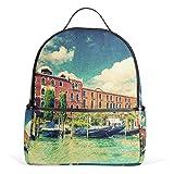 ALAZA Venedig Italien Vintage-Rucksack für Schule Bookbag