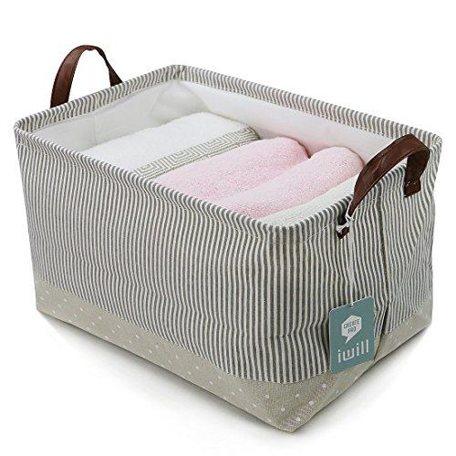Spielzeug-speicher-organisator (iwill CREATE PRO Aufbewahrungskörbe, 100% Baumwolle. Für Baby-Speicher u. Spielzeug-Organisator. Kinderkörbe, Regallagerbehälter (Beige))