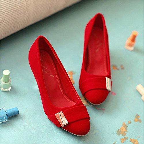 Cuckoo 5.5cm Mid Chunky Heel en cuir suédé synthétique Escarpins confortable des femmes Rouge