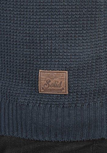 SOLID Trace Herren Strickpullover Hoodie Freinstrick Pulli mit Kapuze aus hochwertiger Baumwollmischung Meliert Insignia Blue Melange (8991)