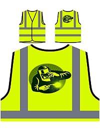 Soldador Nuevo En La Soldadura De Trabajo Chaqueta de seguridad amarillo personalizado de alta visibilidad i946v