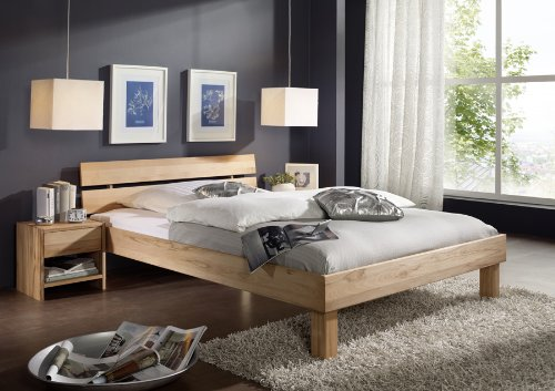 SAM® Massiv-Holzbett Columbia in Buche natur geölt, Bett mit geteiltem Kopfteil, natürliche Maserung, massive widerstandsfähige Oberfläche in zeitlosem Naturton, 140 x 200 cm