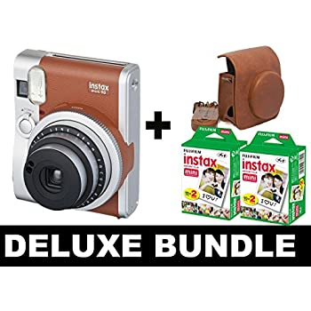 Fujifilm Instax Mini 90 NEO - Braun + 40 Shots + Tasche Vintage braun
