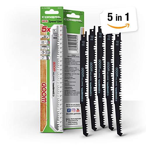 Conbra S1531L - Hoja de sierra de sable (240 mm, extralarga, alta calidad, ideal para cortes rápidos en madera gruesa de hasta 190 mm de ancho, 5 hojas de sierra de sable tipo S1531L)