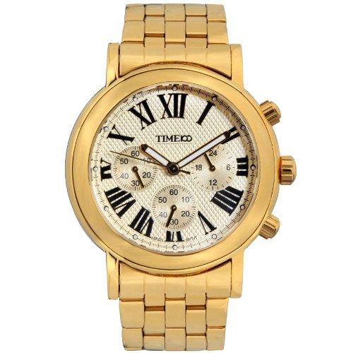 Time100 orologio uomo da polso movimento al quarzo con tre quadranti multifunzionale cinturino in acciaio inox#w80009g.02a