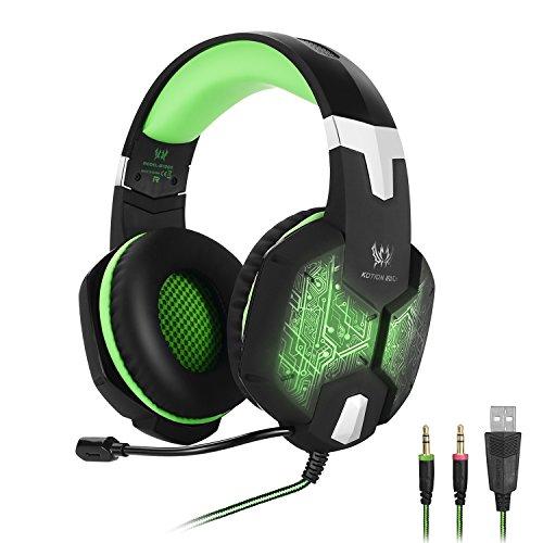 KOTION EACH Auriculares para jueguos con Microfono G1000 Profesional para Videojuegos PC, MAC y Móvil Gaming Bass Stereo Headset Auriculares Diadema con Luz LED de Respiración para Ordenador Portatil con Luz