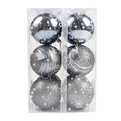 Hirolan 12pcs Runden Weihnachten Baum Bälle Dekorationen Baubles Party Hochzeit Ornament 8cm (Grau, (Kostüm Maske Basketball)