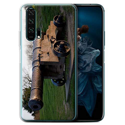 eSwish Gel TPU Hülle/Case für Huawei Honor 20 Pro/Alte Kanone Muster/Britischen Küste Kollektion (Cannon Kamera Und Drucker)