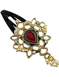 B-Fashionable Drop Kundan Snap Hair Clip (Red Kundan)
