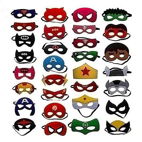 Zorara 32 pcs Superheld Masken,Superheld Party Masken, Kinder Cosplay Masken für Geburtstagsfeier,Halloween (Mehrfarbig)