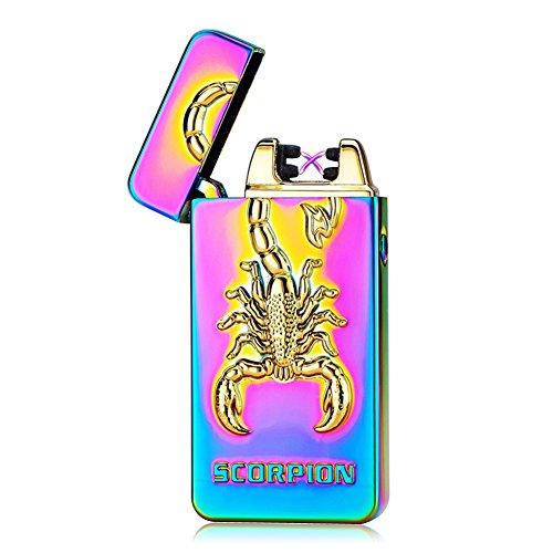 Kivors® Elektronisches Feuerzeug Skorpion tragbar USB aufladbar dopple Lichtbogen tragbar
