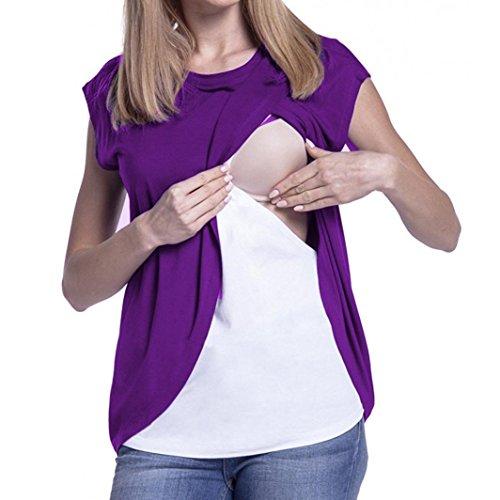 Maglietta per l'allattamento elegante - feixiang® t-shirt da donna camicie e casacche da premaman camicia da donna per maternità camicia a doppio strato con maniche avvolgibili (viola, l)