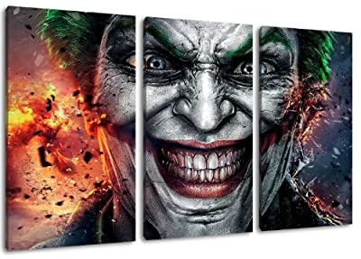 Joker 3?Piece Canvas Wall Art, overall size: 120 x 80 CM)-High-Quality Art Print Wandbild. Cheaper than AN oil Painting Warning! Not A Poster!