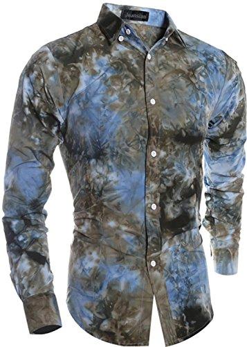 Jeansian Hommes Fashion Chemises Teinture Manches Longues Men Casual Shirt Tie Dye Printing Slim Tops Shirt 84A1 brown