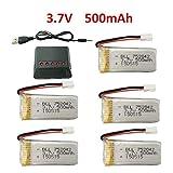 Fytoo 3.7V 500mAh 25C Batteries au Lithium + 5en1 Chargeur pour JJRC H31 H37 H6D...