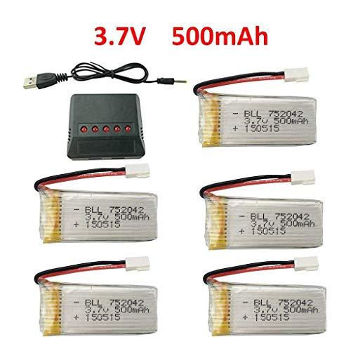Fytoo 5pcs 3.7V 500mAh 25C Li-Akku mit X5 Ladegeräte für JJRC H31 H37 H6D Hubsan X4 FPV H107C H107D H107L H107P H108 JXD392 JXD388 JXD385 UDI U816A SYMA X5C X5SW HS170 HS170C HS170G F180W F180C Drohne