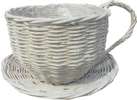 Hamper House Teacup Shaped Wicker Basket, White