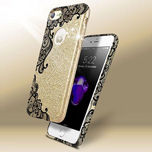 EGO ® Hülle Glitzer Schutzhülle für Samsung G930 Galaxy S7, Silber Schmetterling Back Case Bumper Glänzend Transparente TPU Bling Weiche Glamour Handy Cover Spitze Gold