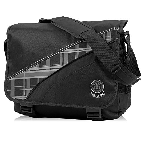 Daniel Ray // AVERNUS Plaid // Messenger Bag Laptoptasche Notebook Tasche - SCHWARZ (Plaid Umhängetasche)