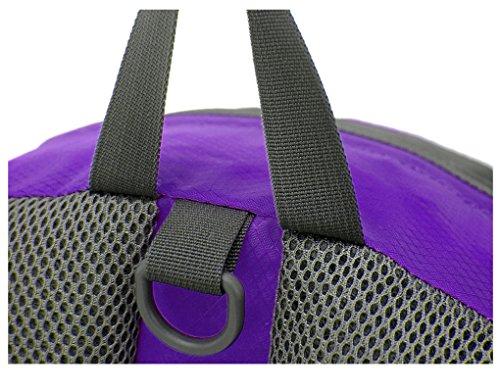 FakeFace® Nylon Wasserdichte Multifunktion-Hüfttasche Gürteltasche Rücksack Schulter Umhängetasche Brustbeutel Bauchtasche mit Flaschenhalter für Gym Camping Wandern Radfahren Reisen Bergsteigen Violett