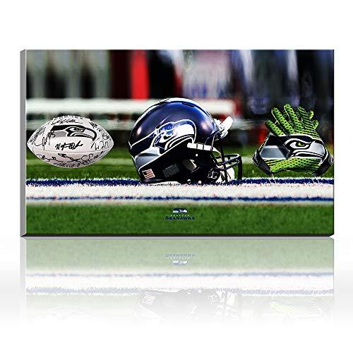 Karen Max Seattle Seahawks Fußball-Helm-Handschuhe Geschenke für Dekoration, Teamsport-Poster, Ölgemälde, Kunstwerke 20x28inch Frameless