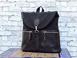 Rucksack für Frauen handgefertigt. Rucksack aus Leder und Canvas. Schwarzer Rucksack