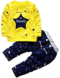 Huhu833 Baby Kleidung Kleinkind Kinder Jungen Star Print Tops + Hosen Outfits Kleidung Set