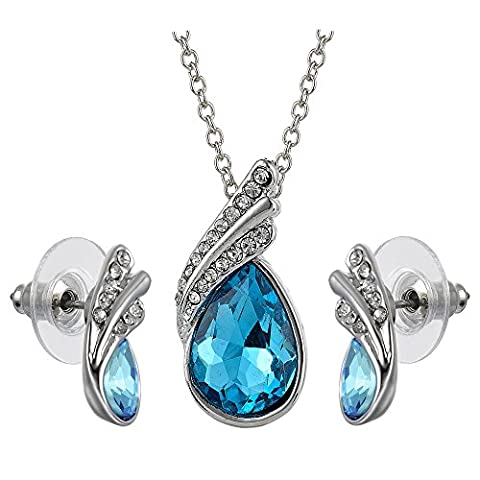 Rizilia Jewellery Austrian Aquamarine Color Swarovski Elements Crystal Stud Earrings Pendant (Length 42cm/16.5inch ) Link Chain Necklace Jewelry Set [Free Jewelry Pouch]