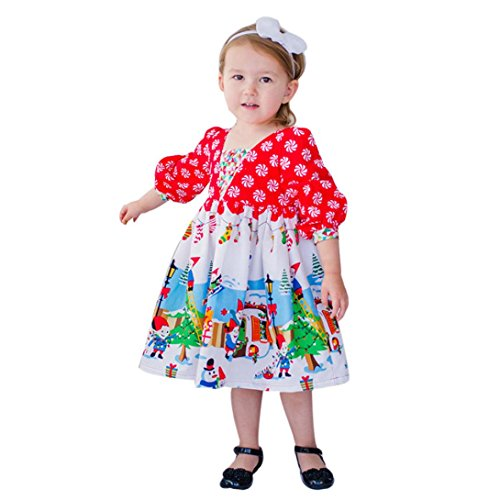 Baby Langes Kleid Weihnachten Outfits Kleider Hirolan Toddler Karikatur Comics Kleid Babykleidung Kids Girls Princess Party Dress Damenkleider (80cm, Rot) (80's Cartoon Kostüme Idee)