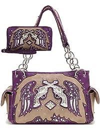 Rhinestone Pistol Stud Laser Cut Angel Wings Western Country Handbags Women Purse Shoulder Bag Wallet Set (Purple...