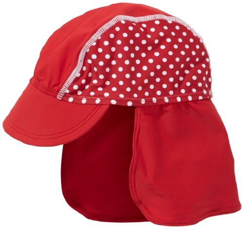 Playshoes Baby - Mädchen Mützchen 461038 Bademütze/Badekappe in rot mit weißen Punkten mit UV-Schutz nach Standard 801 und Oeko-Tex Standard 100, Gr. 49, Rot - Mütze Rote Baby