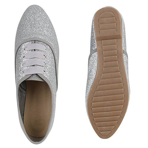 Damen Halbschuhe | Klassische Schnürer Leder-Optik Velours | Basic Schuhe Glitzer Spitze | Schleifen Details | Flache Schuhe Muster Silber Glitzer