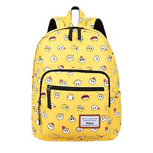 Tibes Zaino Scuola Elementare Bambina Cartella Scuola Zaino In Tela Schoolbag Espressione Zaino Borse Scolastiche F Giallo 3