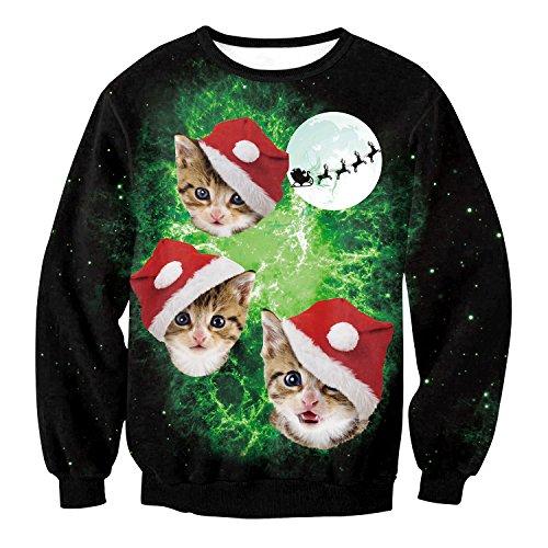 e Weihnachts Pullover Sweatshirts Katze Mit Weihnachts-Hut 3D-Print-Neuheit Xmas Elf Lange Ärmel Tshirt Hip Hop Paar S-XL,S ()