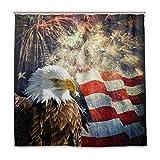 Wamika Bald Eagle mit amerikanischer Flagge und Feuerwerks-Badezimmer-Duschvorhang, Patriotische USA-Stern- und Streifen-Design, strapazierfähiger Stoff, schimmelresistent, wasserfest, Badewannen-Vorhänge mit 12 h