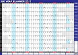 2016 UK Unmounted A1 Large Year Wall Planner Blue