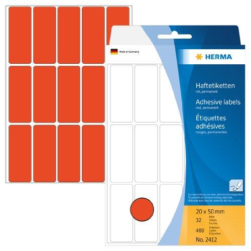 Herma 2412 Vielzwecketiketten farbig (20 x 50 mm, Papier matt) 480 Aufkleber, 32 Blatt, rot, selbstklebend, Handbeschriftung