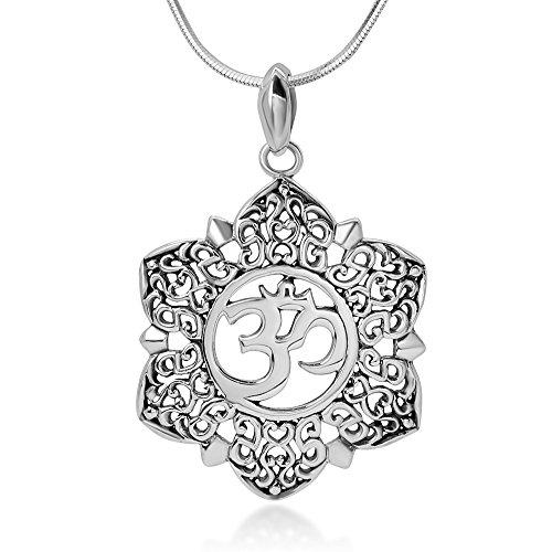 Argent sterling ouvert en filigrane Fleur de Lotus OM Ohm AUM Symbole Pendentif Collier pour Femme, 45,7cm