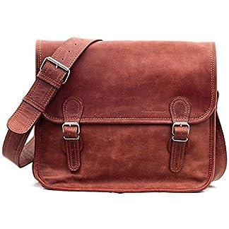 LA SACOCHE (M) Bolso bandolera de piel, estilo vintage, (apropiado para A4), color marrón PAUL MARIUS Vintage & Retro