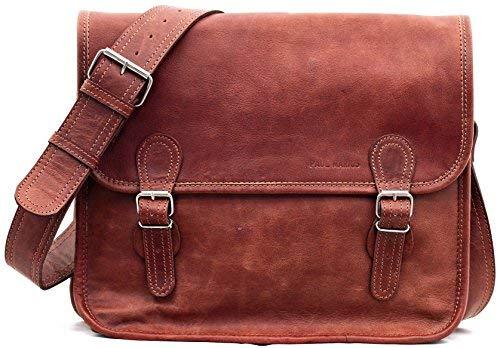 LA SACOCHE (M) Bolso bandolera de piel, estilo vintage, (apropiado para A4), color marrón...