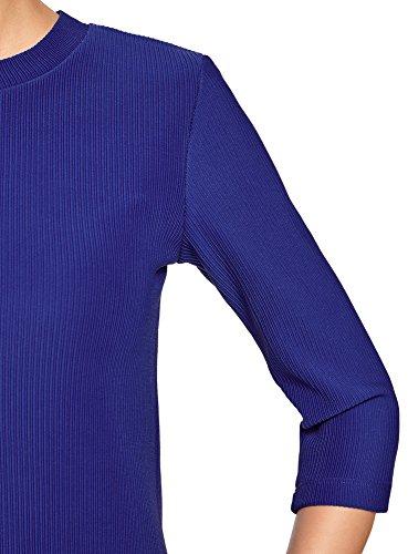 oodji Ultra Femme Chemisier Manche 3/4 avec Fermeture Éclair Bleu (7500N)