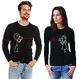 T-shirt TELL ME LOVE idea regalo San Valentino uomo donna coppia maniche lunghe (M UOMO, Nero)