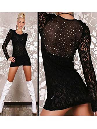 Sexy Black Lace Dress With Diamanté Detail To The Back Size 10-12