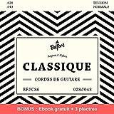 Belfort®️ Cordes en nylon de première qualité pour guitare classique & guitare acoustique (lot de 6 cordes) ♫ Vainqueur detest 2019* ♫ BONUS : Ebook gratuit + 3 plectres