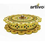 Artlivo Wooden Dry Fruit Handicraft Box With Meena Work/Box/ Furit Box/Dry Fruit Box/Decorative Box/Wooden Box/Handicraft Bxo/Multi Purpose Box/Diwali
