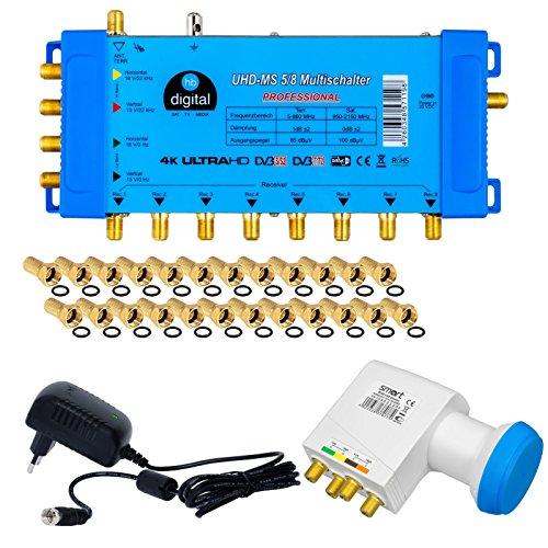 Hochwertiger Quattro LNB + Multischalter pmse 5/8 HB-DIGITAL 1x SAT bis 8 x Teilnehmer / Receiver für Full HDTV 3D 4K UHD mit Netzteil + 25 Vergoldete F-Stecker Gratis dazu