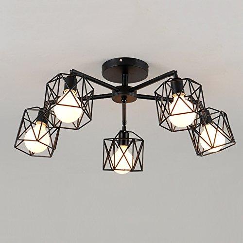 Nordic Kreative Deckenleuchte Schlafzimmer Wohnzimmer Moderne Einfache Deckenlampen Eisen Schwarz E27 Kronleuchter Restaurant (Lichtquelle nicht inklusive) (5 Glühbirne)